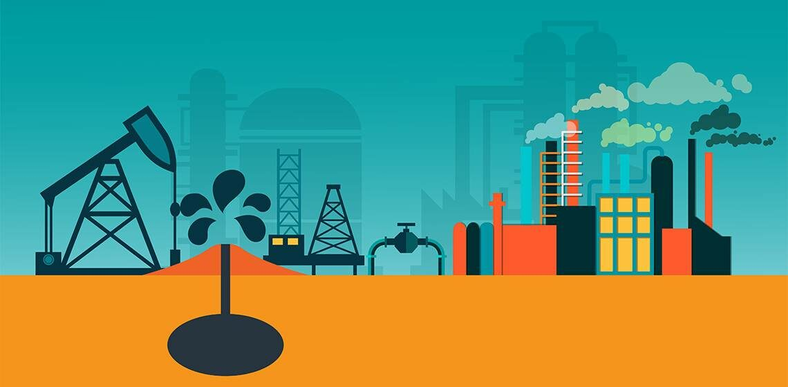 Добыча нефти. Завод производит нефть