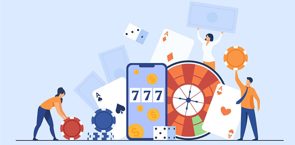 2 мужчины играют в онлайн казино на телефоне