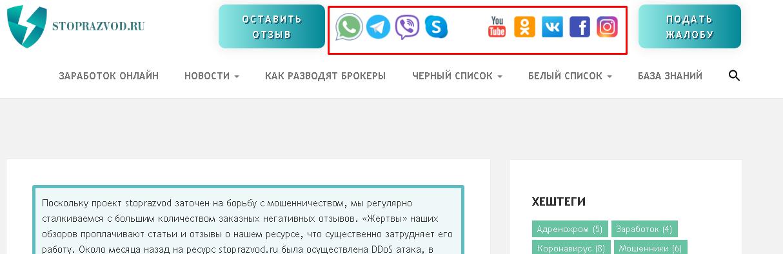 Способы связи с ресурсом stoprazvod.ru