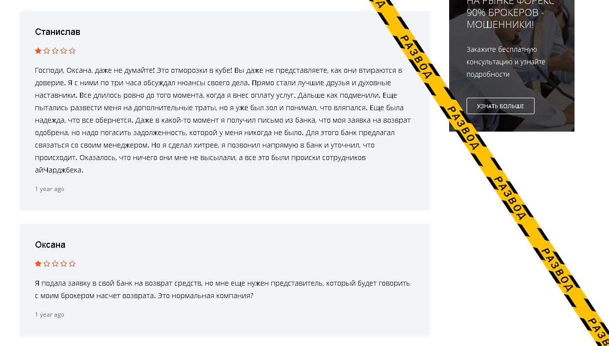 Анализ отзывов ichargeback.com