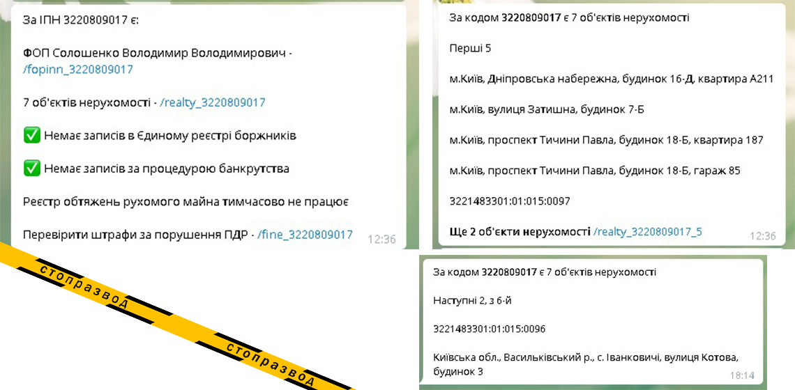 адреса недвижимости Владимира Солошенко