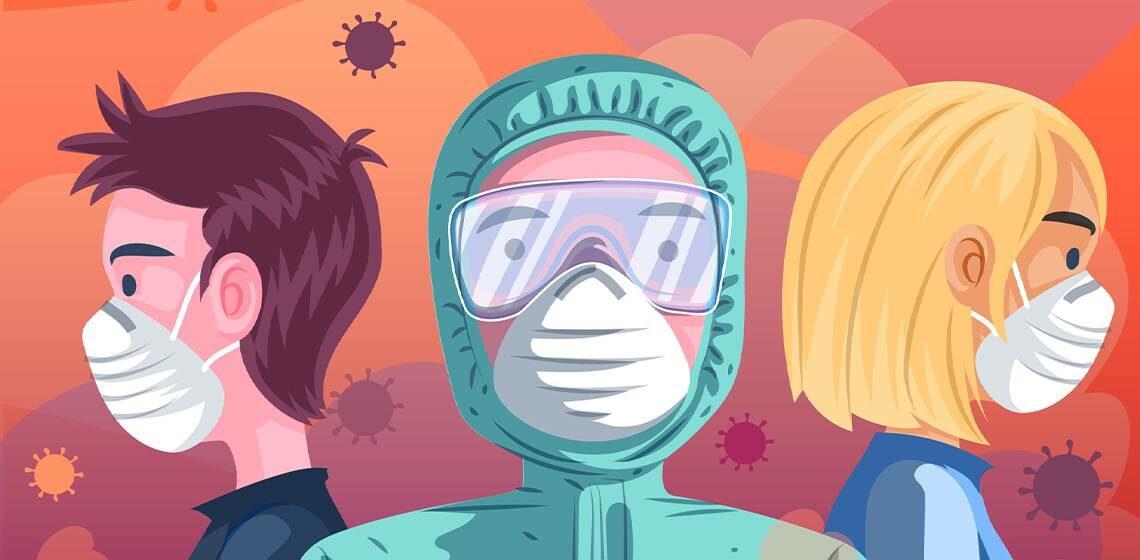 Дети в масках от вируса
