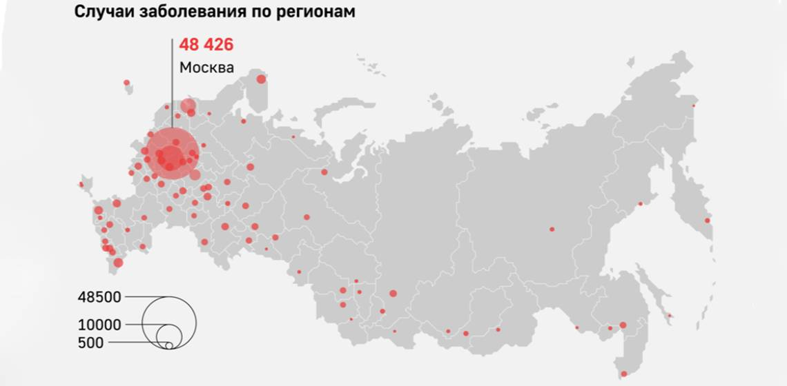 Карта заболеваний коронавирусом в России