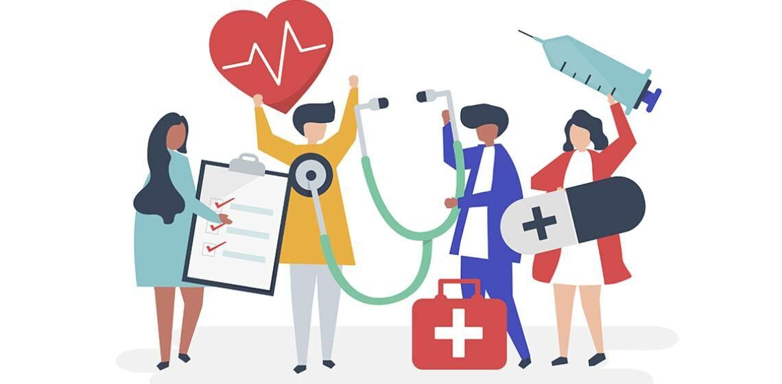 Веб рисунок врачи и медсестры