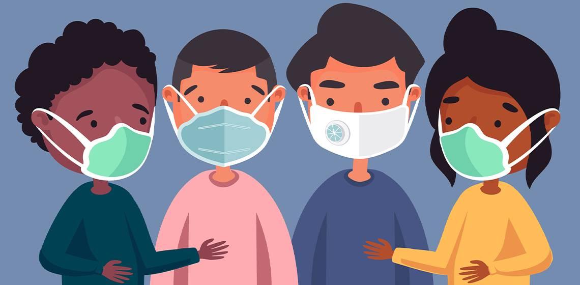 Люди в масках против вируса