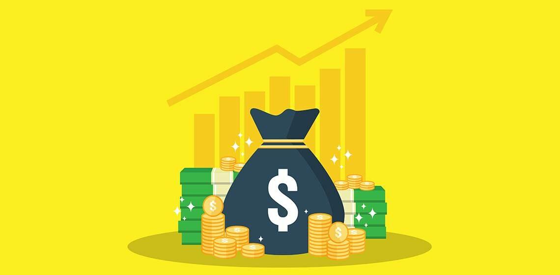 Мешок денег и золот. График роста
