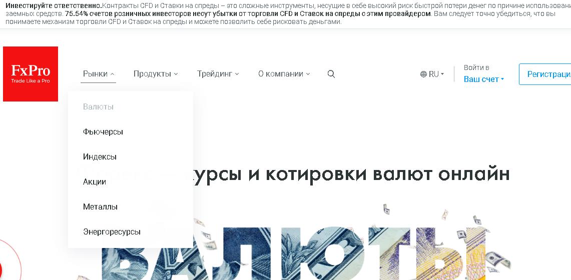 Торговые инструменты брокера FxPro