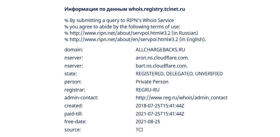 Сведения о сайте allchargebacks.ru