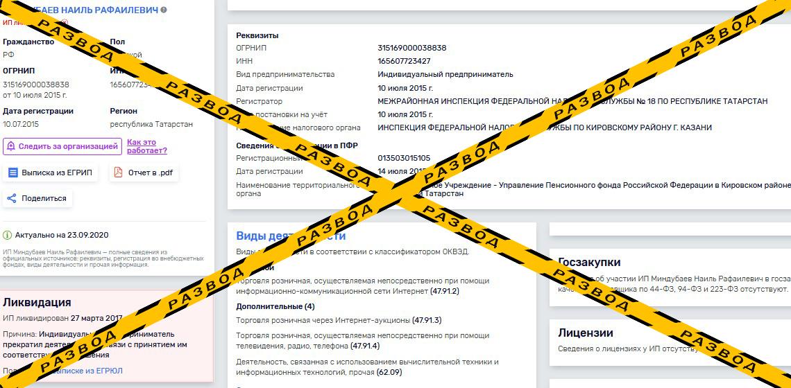Сведения о ликвидированном ИП Наиля Миндубаева