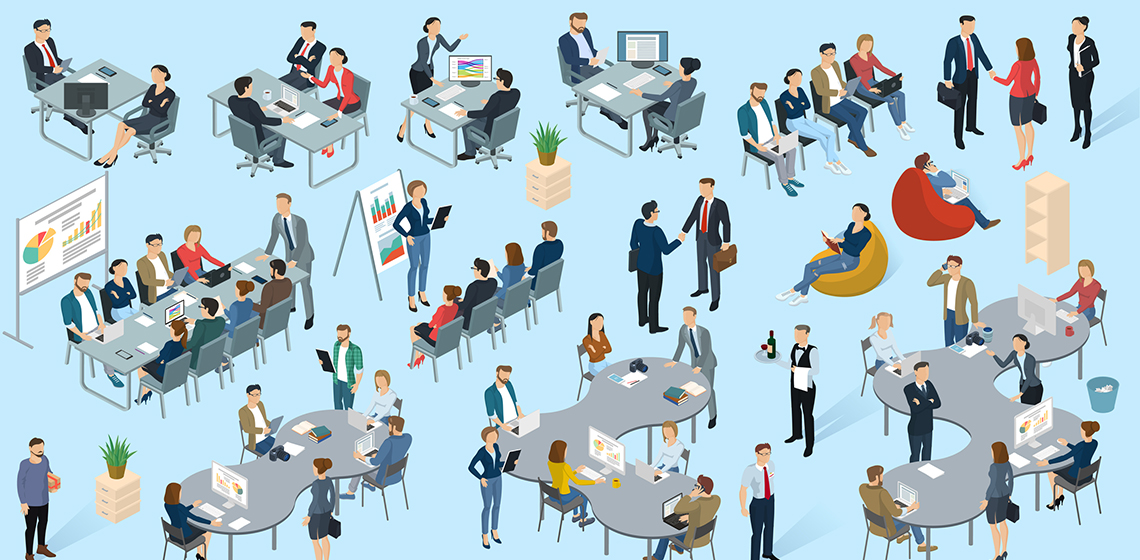 Сотрудники работают в офисе