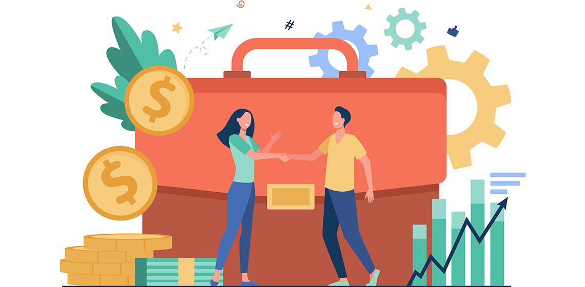 Девужка и мужчина стоят возле портфеля с деньгами