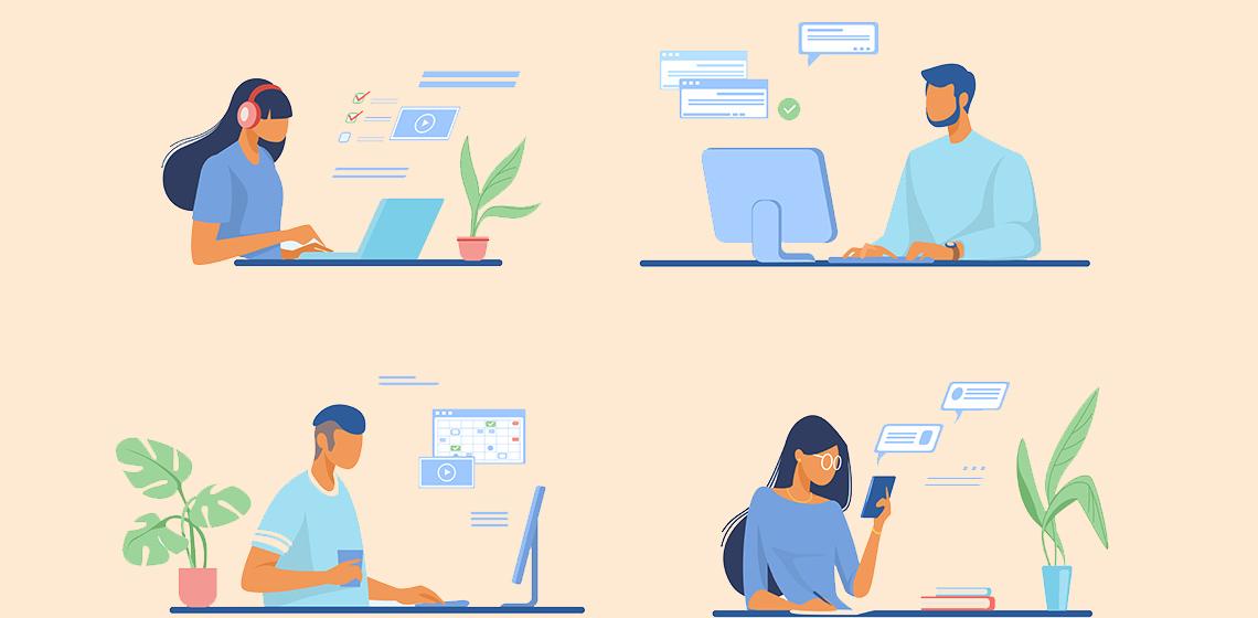 Молодые люди работают онлайн