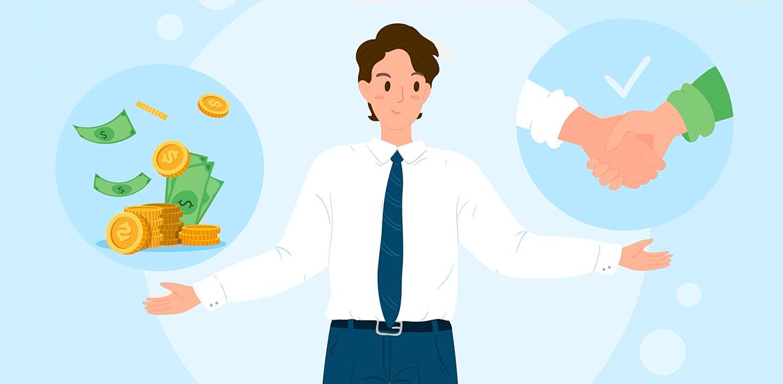Предприниматель показывает как проходит сделка