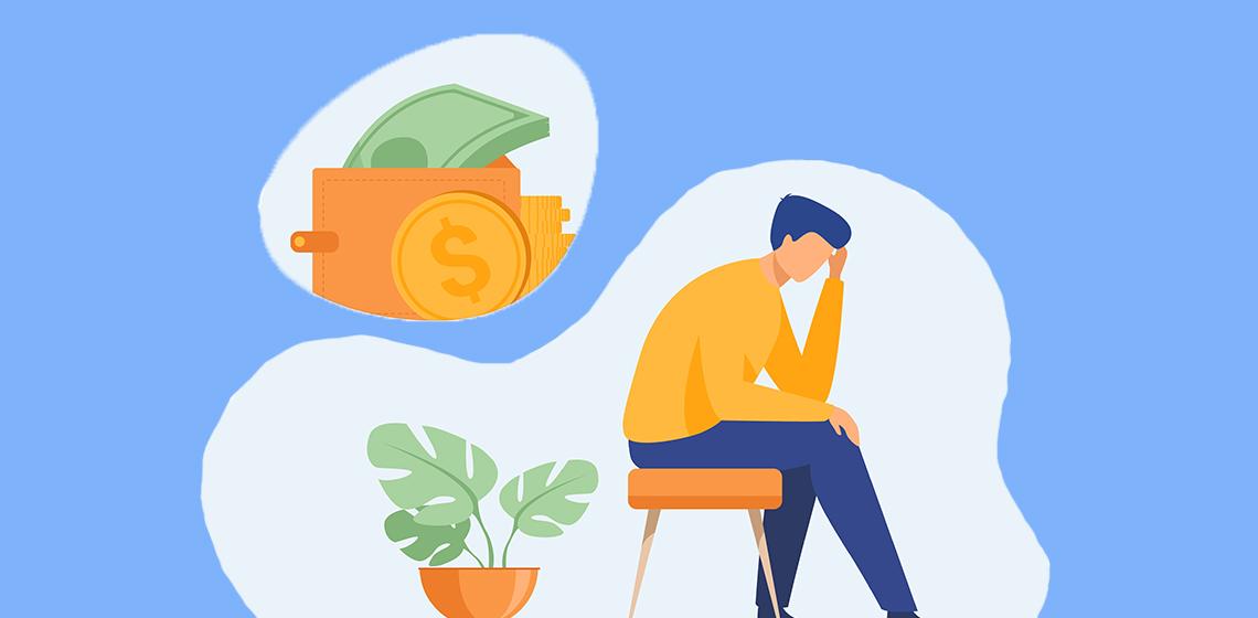Мужчина думает о деньгах сидя на стуле