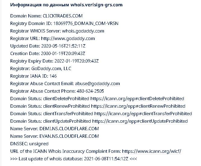 информация о домене сайта брокера clicktrades