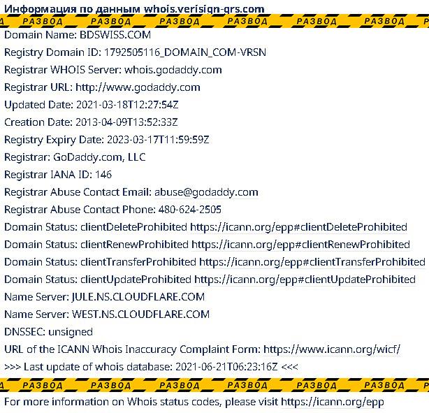 информация о домене сайта BDSwiss