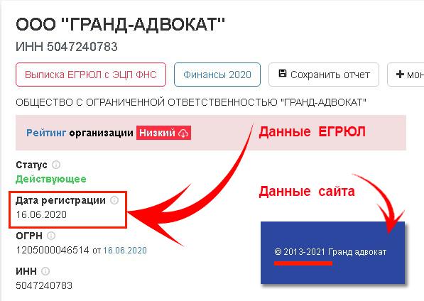 Гранд Адвокат_дата регистрации